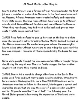 Martin Luther King Jr. Main Idea, Key Details, and a Reading Passage