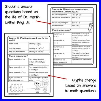 Martin Luther King, Jr. Math Glyph (8th Grade Common Core)