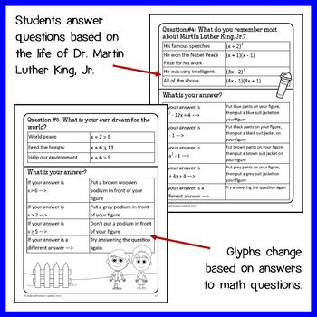 Martin Luther King, Jr. Math Glyph (Algebra Common Core)