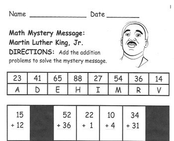 Martin Luther King, Jr. Math Mystery Message