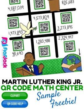 Martin Luther King Jr. Math Rounding QR Code Center FREEBIE
