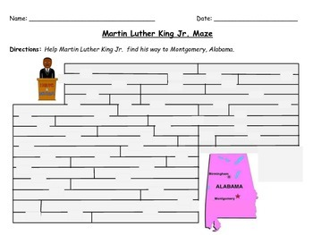 Martin Luther King Jr. Maze Activity for Grades 1-3