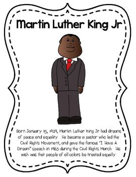 Martin Luther King Jr Mini Bio and Activity