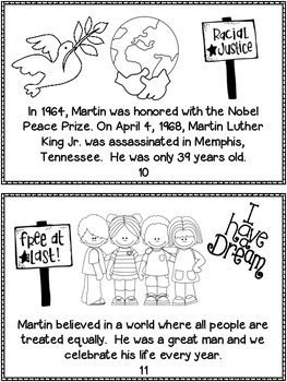 Martin Luther King Jr. Mini Book 2 Versions {11 Pages Each}
