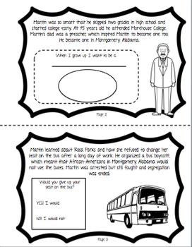 Martin Luther King Jr. Mini Book and Printables