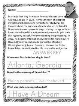 Martin Luther King Jr Activities Kindergarten - 2nd Grade