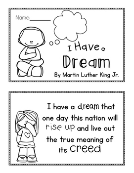 Martin Luther King Jr I Have A Dream Mini Book By The Classy Sisters