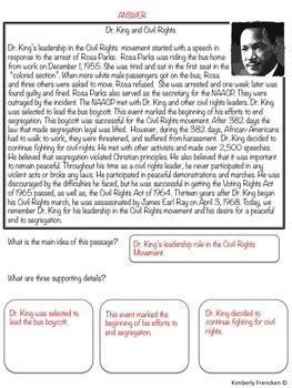 Martin Luther King, Jr. Mini-lessons: Non-Fiction Reading & Math Skill Review