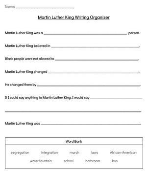 Martin Luther King Jr. Modified Writing Activity with Rubric and Word Banks