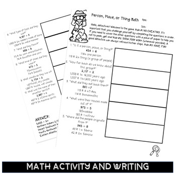 Martin Luther King Jr themed Division Math Enrichment 5th