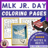 MLK Music Coloring sheets: 12 Martin Luther King Jr. Coloring Pages: