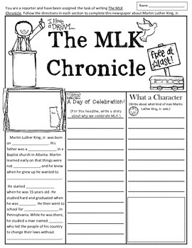 Martin Luther King, Jr. Writing Activity in Fun Newspaper Format