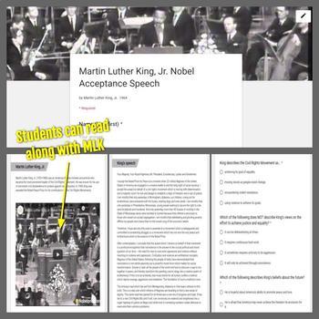 Informational Text: Martin Luther King, Jr. Nobel Acceptance Speech