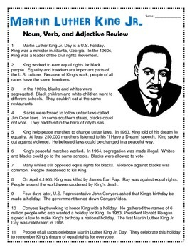 Martin Luther King Jr.- Noun, Verb, and Adjective Review
