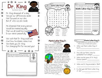 MLK PRIMARY Pack ~ w/ daily reading plans & activities {Common Core Aligned}