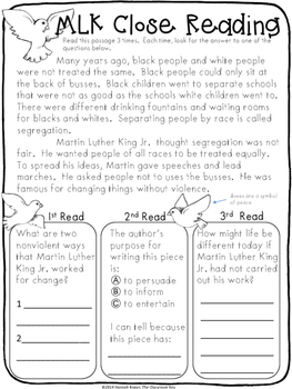 Martin Luther King Jr Activities Packet For 3rd Grade By