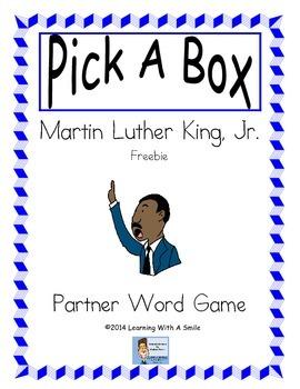 Martin Luther King, Jr. Partner Game ~ Fun Word Game ~ Freebie