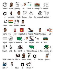 Martin Luther King Jr - Picture supported text lesson review facts questions