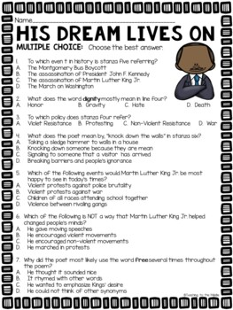 Martin Luther King Jr  Poems Worksheet with Comprehension Questions