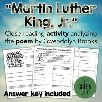 Martin Luther King, Jr. Poetry Worksheet - Close Reading w/Answer Key