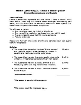 Martin Luther King Jr. Poster Rubric/Project