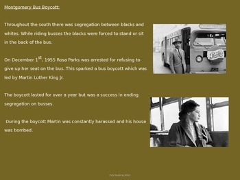 Martin Luther King Jr - Power Point - Life History Civil Rights Facts 21 Slides