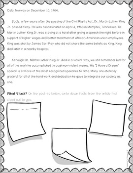 Dr. Martin Luther King Jr. Holiday Nonfiction Article and Activity