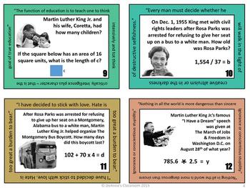 Martin Luther King Jr. Problem Solving: Math Task Cards Grades 4 - 6
