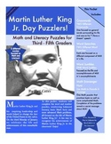 Martin Luther King Jr. Puzzlers! 6 Math and Literacy Puzzles for 3rd - 5th Grade
