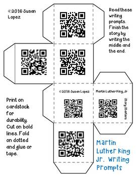 Martin Luther King Jr. Writing Prompts with and without QR Codes