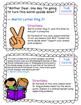 Martin Luther King Jr  Quotable Task Cards and Essay {CC Aligned}