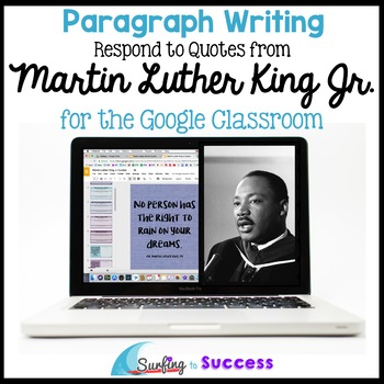Martin Luther King Jr Quotes Paragraph Bell Ringer for the Google Classroom