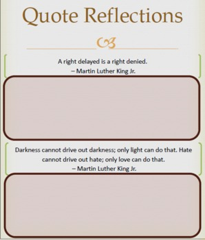 Martin Luther King Jr Readers Theater Quotes and Questions