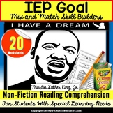 Martin Luther King, Jr. Reading Comprehension NON-FICTION WORKSHEETS for Autism