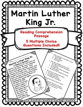 Martin Luther King Jr. - Reading Comprehension Passage w/Questions