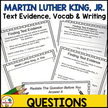 Martin Luther King Jr Reading Passage- Finding Text Evidence for Primary