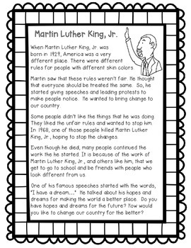 Martin Luther King, Jr. Reading Passage & Writing Prompt