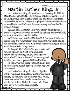Martin Luther King, Jr. Reading Passage and Assessment