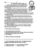 Martin Luther King Jr. Reading Passage and Comprehension for Primary Grades