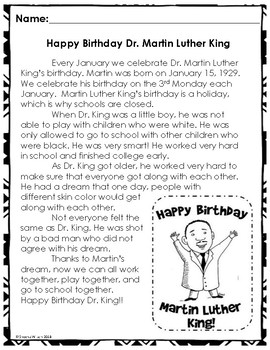 Martin Luther King Jr. Reading Passages (With Writing Prompts)