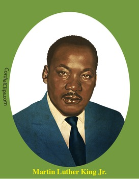 Martin Luther King Jr. Realistic Clip Art, Coloring Page and Poster