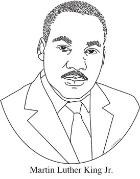 martin luther king jr realistic clip art coloring page and poster