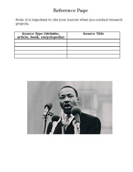 Martin Luther King Jr Research Project