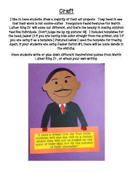 Martin Luther King Jr. Resource Packet & Craftivity!