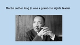 Martin Luther King Jr Slide show and task cards (scoot)