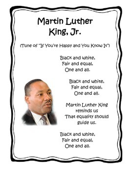 Martin Luther King Jr Song By Kristal Teachers Pay Teachers