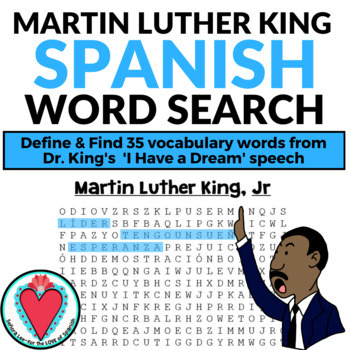 Martin Luther King Jr Spanish WORD SEARCH - MLK Day
