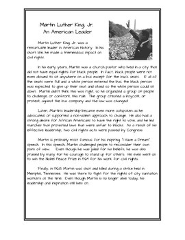 Martin Luther King, Jr. Story with Interactive Journal Prompts