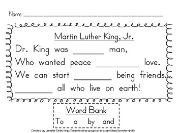 Martin Luther King Jr. Supplement Pack ~Activites To Create A Caring Classroom!~