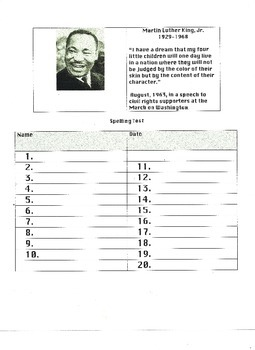 Martin Luther King, Jr. Themed Spelling Test